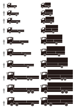 freight transportation: wing opentype box truck and flat-bed truck