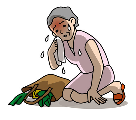 going out: Persona anziana, colpo di calore, di uscire
