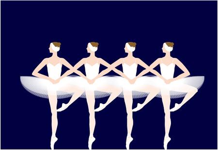 4 鳥バレエの白鳥の湖の白鳥 写真素材