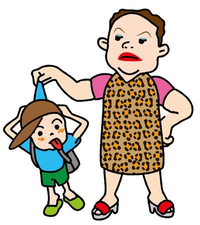 中年の女性は子、いたずらな男の子を叱る 写真素材