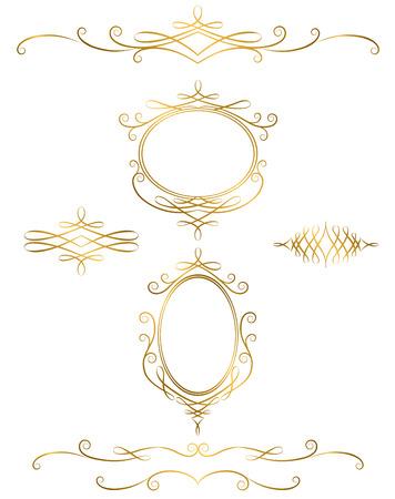 Ruffled border, gold, classic Ilustração