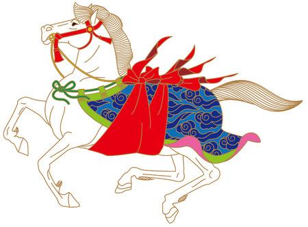 sacred horse  Dedication  Festivals of Japan Vector