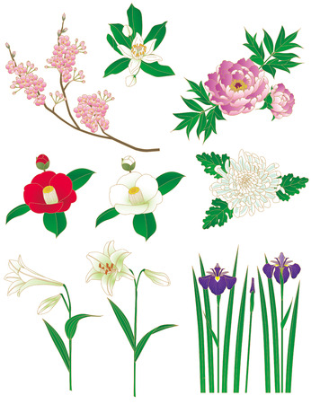 Flowers  Japanese style  Kimono patterns photo