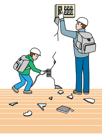 evacuate: Earthquake  Note when you evacuate  Electrical breaker , Japanese style