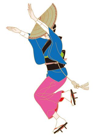kanto: Women to Bon dance knit umbrella  Awa dance  Festival of Japan