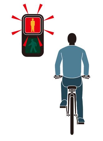 rote ampel: Man Fahrrad fahren und Rotlicht