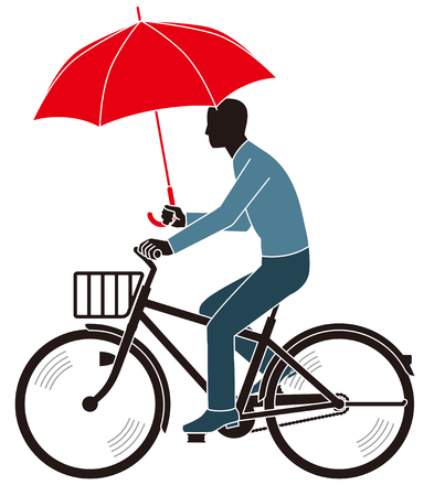a two wheeled vehicle: Man ride a Bicycle hold an umbrella