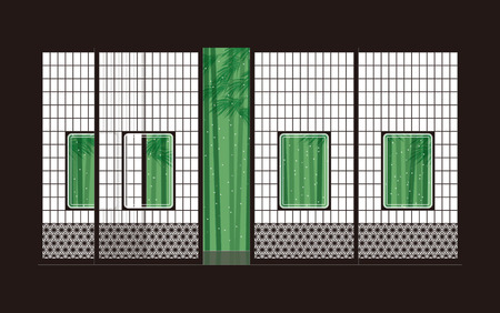 Bamboo and shoji  Japanese-style room  イラスト・ベクター素材