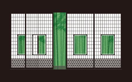 Bamboo and shoji  Japanese-style room Illustration