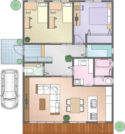 家具のホームの配置  イラスト・ベクター素材