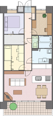 Apartment Placement of furniture 일러스트