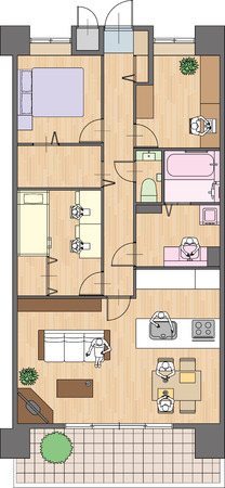 porch chair: Apartment Placement of furniture Illustration