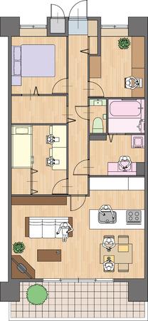 Apartment Placement of furniture Ilustração