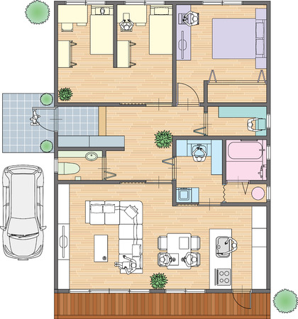family living room: Home Placement of furniture Illustration