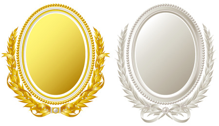 Oval frame of gold and silver  Ilustracja