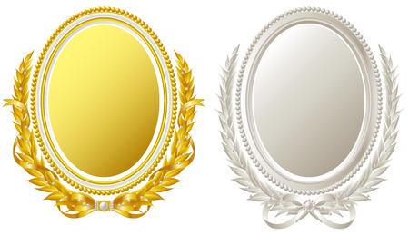 oval frame: Oval frame of gold and silver  Illustration