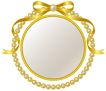 Frame and pearl ribbon of gold  イラスト・ベクター素材