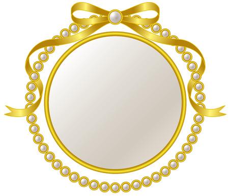 Frame en parel lint van goud Stock Illustratie