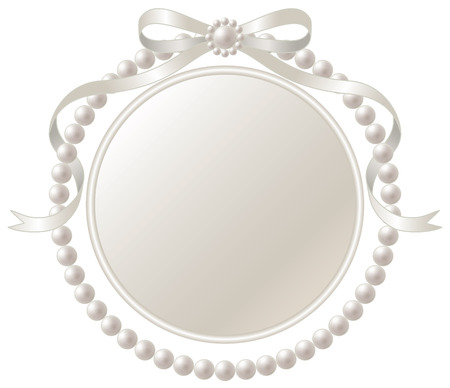 silver picture frame: Frame and pearl ribbon of silver