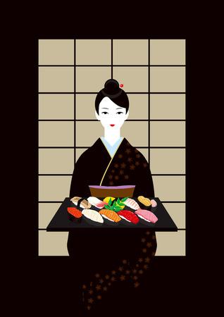 hairpin: sushi. Japanese food. Kimono