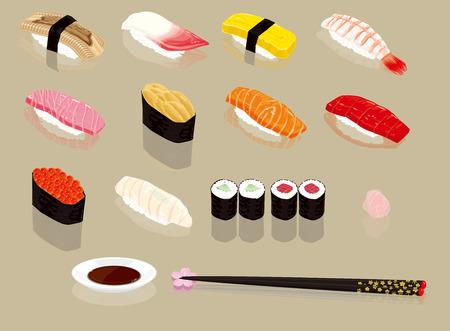 握り寿司。日本の食べ物