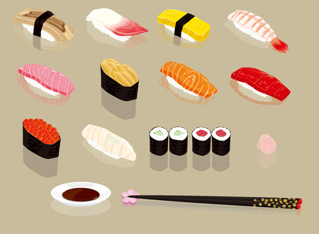 Nigiri sushi. Japanese food