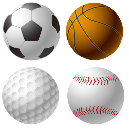 Sports balls. Soccer ball. Basketball. Golf ball. Baseball ball