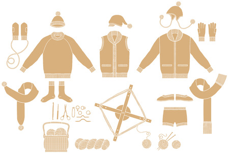gyve: Clothing of Knit and hand-knitted tool Illustration