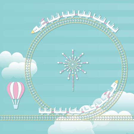 Amusement park playground equipment. Roller coaster Illustration