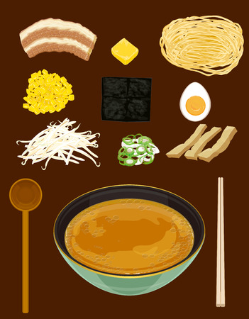 ramen with miso based soup.Japanese noodle