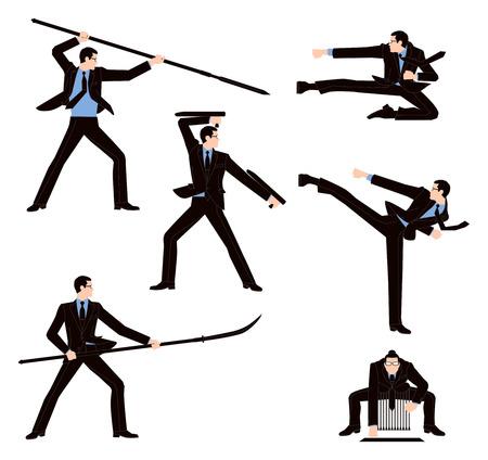Zakenman gevechten in Japan van vechtsporten Stock Illustratie