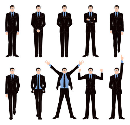 raised hand: Front pose of businessman Illustration