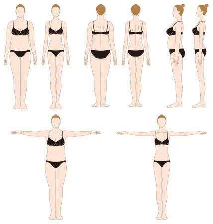 ダイエット。スリムな女性。脂肪の女性