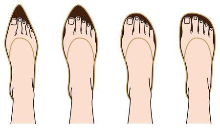 Zapatos de forma y pies Vectores