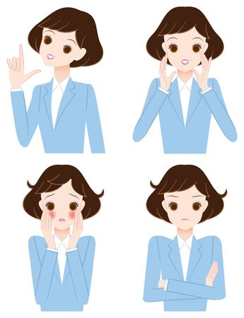 embarrassment: Young woman of facial expression and pose Illustration