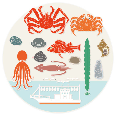 hokkaido: Marine products of northern. Japan Illustration