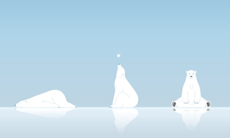 Polar bear and snow Vectores