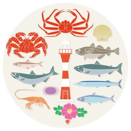 hokkaido: Fish, crabs, shellfish, marine products, fishing, seafood, fish and shellfish, crab, salmon, pike, shrimp, lighthouse, small fish, northern, Hokkaido, cod, mackerel, sea urchin, scallops, rugosa, food, specialty, specialty products, marine products, produ