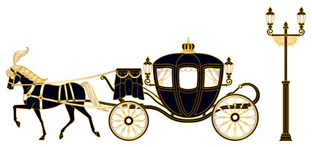 royal wedding: Horse-drawn carriage Illustration