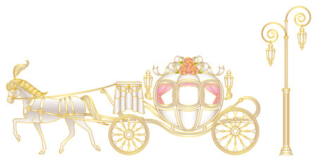 fairy tale princess: Rose of horse-drawn carriage