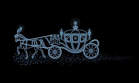 Die Beleuchtung der Pferdekutsche und den Nachthimmel
