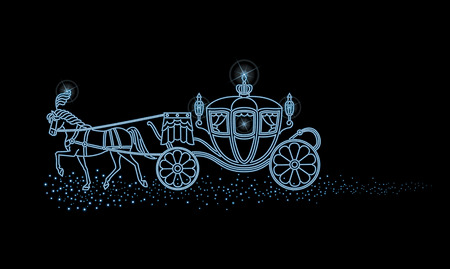 Illumination of the horse-drawn carriage and the night sky Banco de Imagens - 37375480