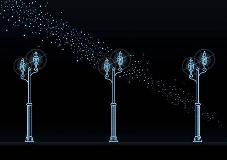 milky: Illumination of street lights and night sky Illustration