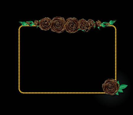 rosas negras: Rosas negras y el marco Vectores