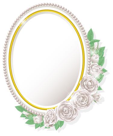 白バラと楕円フレーム 写真素材 - 37591459