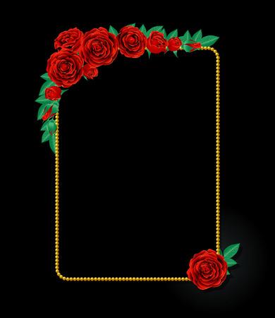crimson: Crimson rose and gold frame Illustration