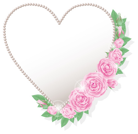 silver frame: Pink roses and heart-shaped frame