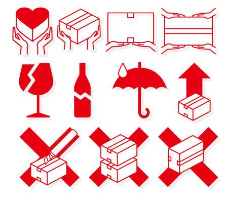 fragile industry: Luggage Handling Caution mark Illustration