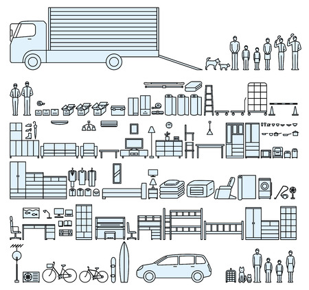house moving family Illustration