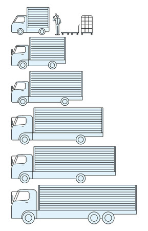 size distribution: The size of the cargo moving truck and transportation Illustration